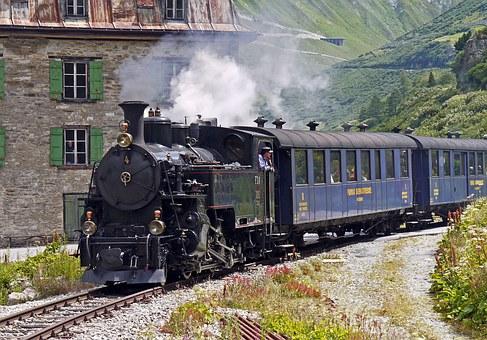 chemin de fer de vapeur furka-bergstrecke, entrée gletsch, maison bleue
